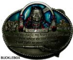 Chief Joseph Nez Perce Tribe Belt Buckle + display stand. Code GJ2